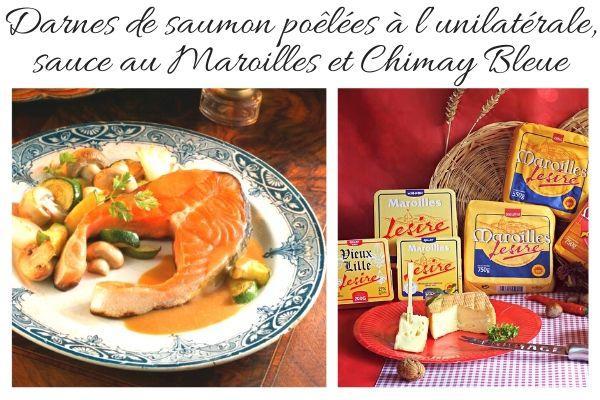 Darnes de saumon à l'unilatérale sauce maroilles