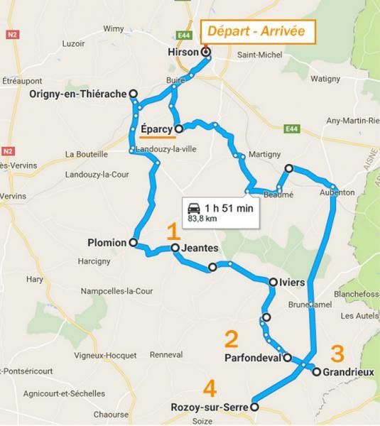 Itinéraire carnet de route Parfondeval