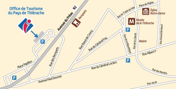 plan d'accès Office de Tourisme du pays de Thiérache